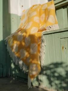 Bilde av Ullpledd LØV gul